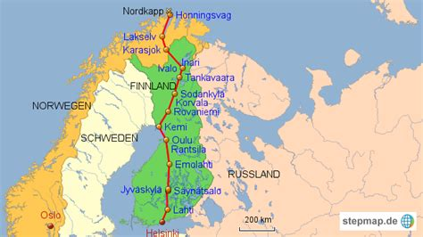 StepMap - Route Helsinki-Honningsvag ohne Relief