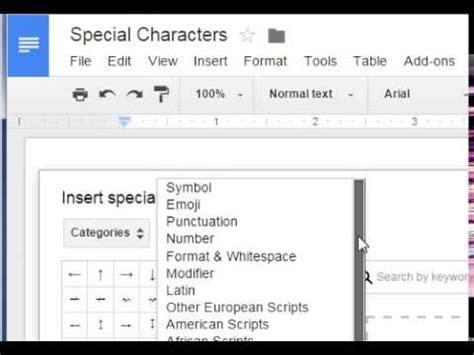 Google Sheets - Insert Special Characters - YouTube