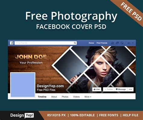 Free Photography Facebook Timeline Cover PSD Template