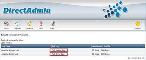 How to view Apache usage and error logs in DirectAdmin